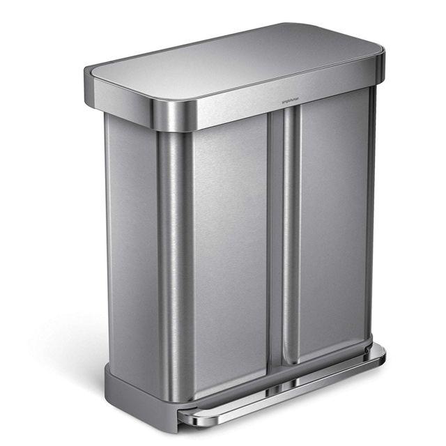 simplehuman - poubelle rectangular step can acier inoxydable 58