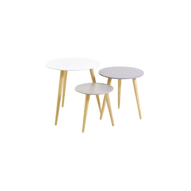 Lot de 3 tables gigognes blanc et gris - Baltic