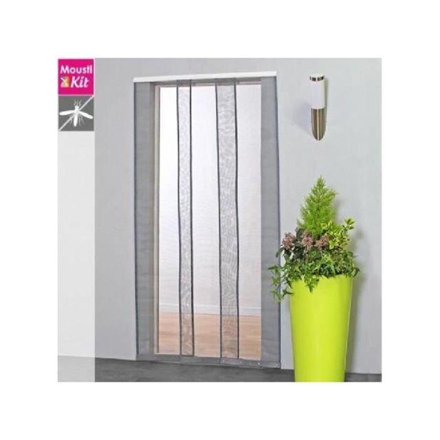 Moustikit Moustiquaire Rideau Pour Porte L130 X H230 Cm Gris Pas