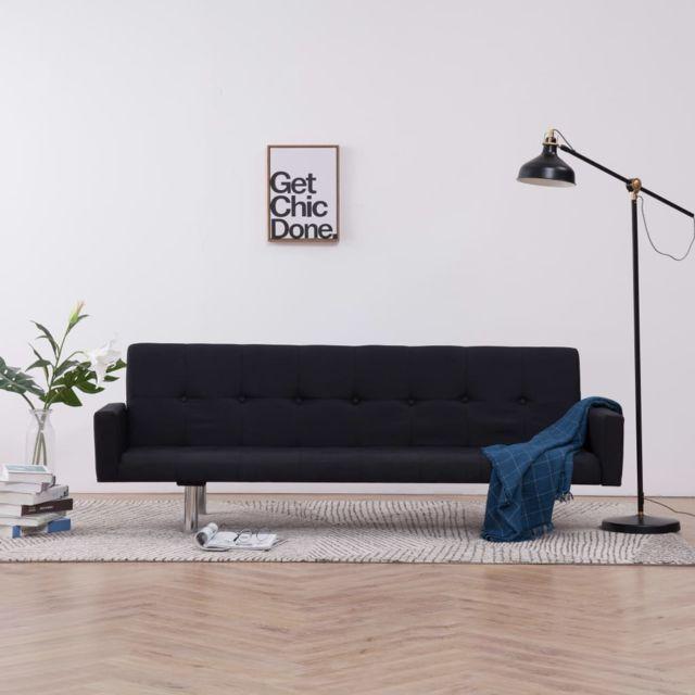 Stylé Meubles categorie Belmopan Canapé-lit avec accoudoir Noir Polyester