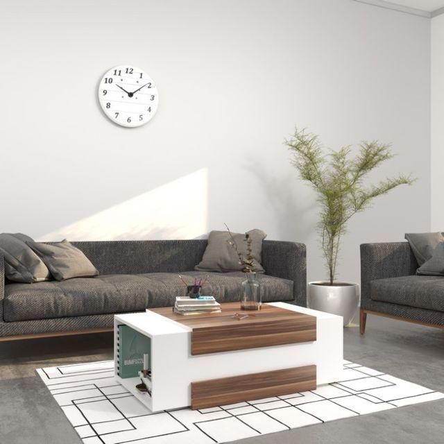 Homemania Table Basse Simon Porte-Revues - pour Salon - Blanc en Bois, 100 x 60 x 35 cm