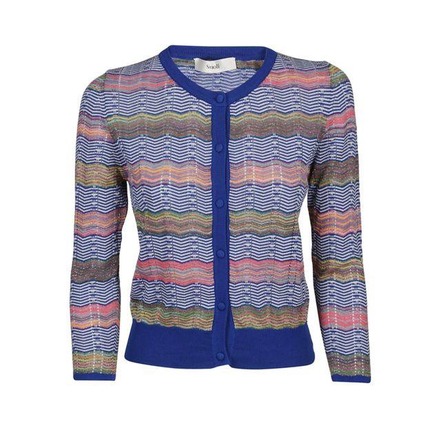 Suoli Femme S29110141381 Bleu Coton Cardigan