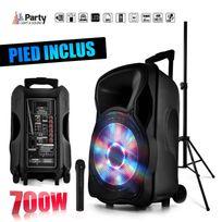 """Party Sound - Enceinte sono mobile amplifiée 700W 12"""" Led/USB/BT/SD/FM + Micro sans fil + Pied Party12"""