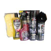 Holts - Coffret 5 produits pour nettoyer et faire briller votre voiture Nett. Jantes, Rénov.plastiques, Shampoing, Nett. Tissus et éponge de lavage