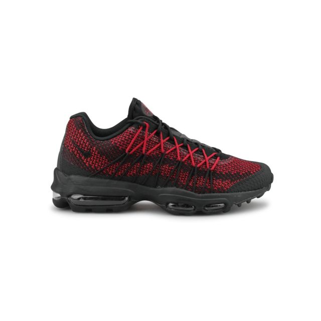 low priced 659fc b2313 Nike - Air Max 95 Ultra Jacquard Noir Rouge - pas cher Achat  Vente  Baskets homme - RueDuCommerce
