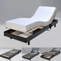 No Name - Sommier relaxation électrique Flexpur 80x200 tête et pied relevable / Noir