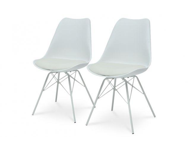 Coton Pastel Lot de 2 chaises vintage blanc