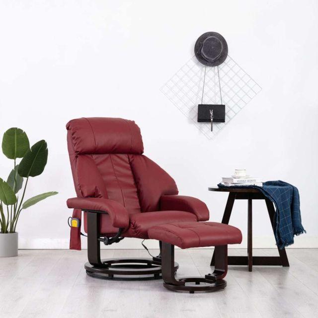 Vidaxl Fauteuil de Massage Tv Rouge Bordeaux Similicuir Electrique Inclinable