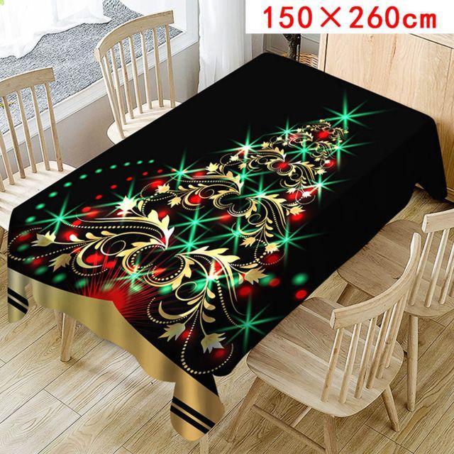 Generic Nappe de Noël imprimée Rectangle Table Cover Holiday Party Home Decor - vert