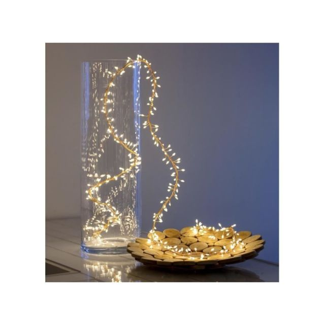 Akasa Lotti Guirlande lumineuse grappe - 300 micro-LED MiniCluster Ø5 cm - Blanc chaud - 2,5 m