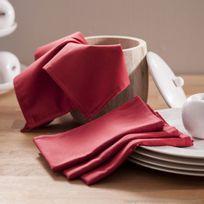 Comptoir des toiles - Serviette de table unie 100% coton traité teflon 40x40cm - lot de 8 Garance