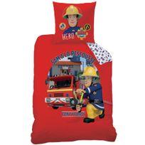 Sam Le Pompier - Housse de couette Fire Crew 140x200 + taie 63x63 enfant 100 % coton