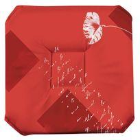 Le Linge De Jules - Galette de chaise anti-taches à rabats Coquelicot rouge