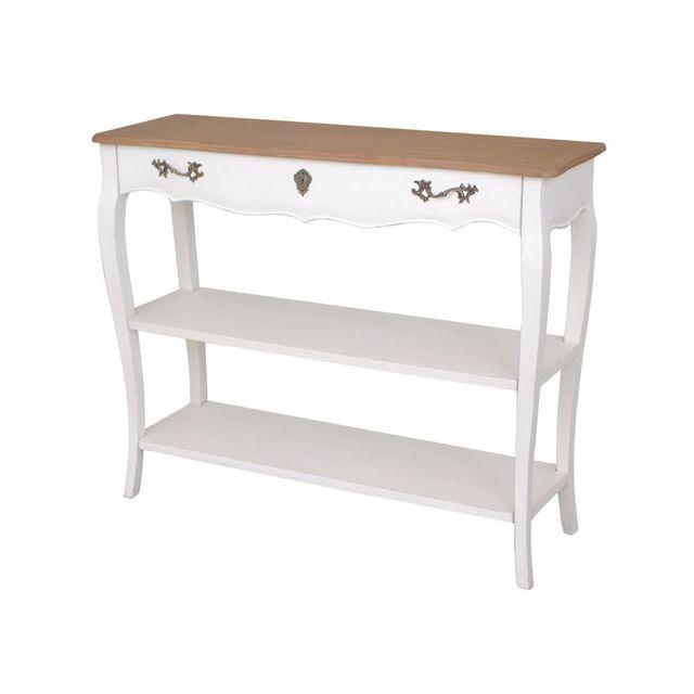 dlm - table console en bois blanc grand tiroir pauline - pas cher