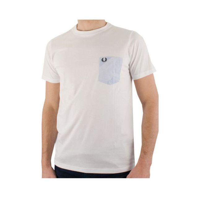 fa1ee4bd5af Fred Perry - Tee Shirt Blanc M8368 - pas cher Achat   Vente Polo homme -  RueDuCommerce