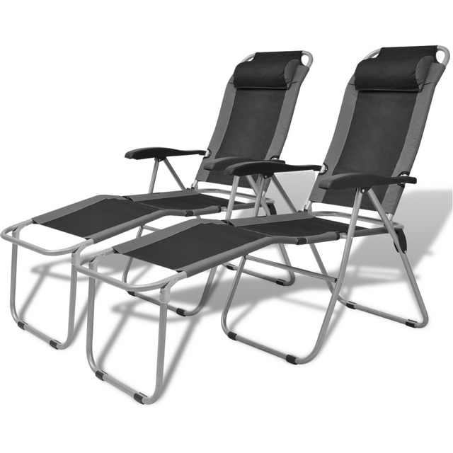 Vidaxl Chaise inclinable de camping 2 pcs gris et noir