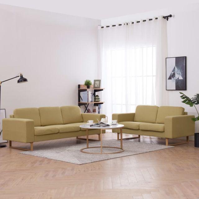 Moderne Meubles famille Jérusalem Ensemble de canapé 2 pcs Tissu Vert