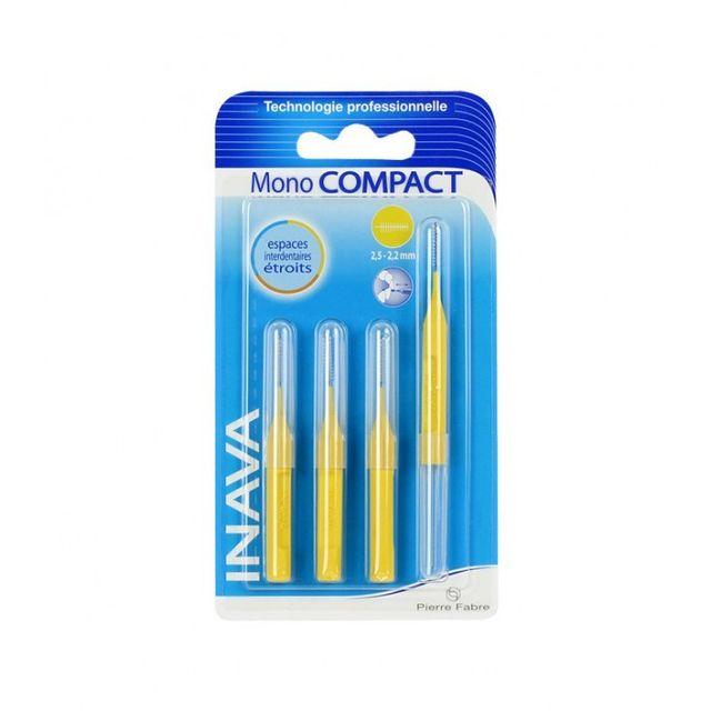 Pierre Fabre Oral Care Inava Brossettes Mono Compact 2,5.2,2mm Espaces Etroits 4 recharges