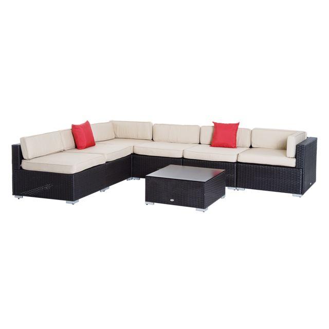 OUTSUNNY - Salon de jardin 6 pers. grand confort canapé d\'angle + ...
