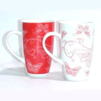 B.E.C. - Mugs x 2 decor papillon blanc et rouge