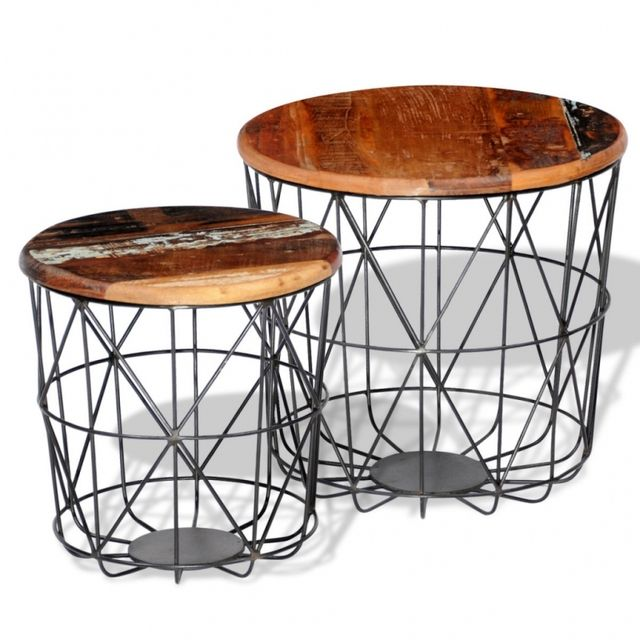 Casasmart Lot de 2 tables basses rondes bois recyclé et acier
