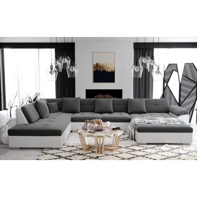 Meublesline Atis - Canapé d'angle panoramique Xxl en U - en Tissu et simili cuir - Angle Gauche gris et blanc