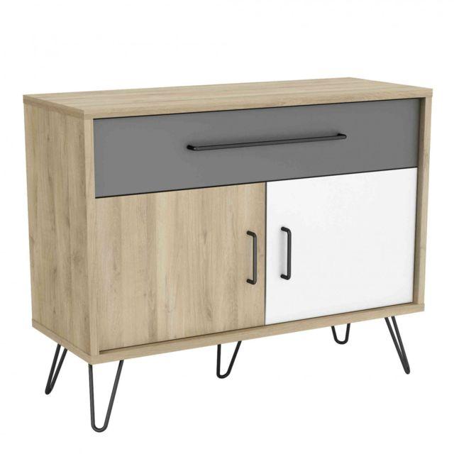 TERRE DE NUIT Commode 2 portes 1 tiroir en bois imitation chêne - CO148-3