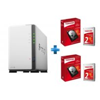 SYNOLOGY - NAS DS216J 2 baies + 2 x HDD Toshiba P300 - 2 To - 7200 Tr/mn
