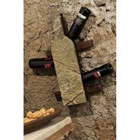 It'S Stone - Support mural 6 bouteilles en pierre et en bois - Aci-its260