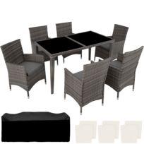 Salon De Jardin 6 Places Avec 1 Table A Manger En Resine Tressee Et Aluminium Gris