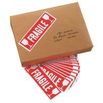 Agipa - 1 Sac de 100 étiquettes adhésives Fragile, format 190 x 60 mm