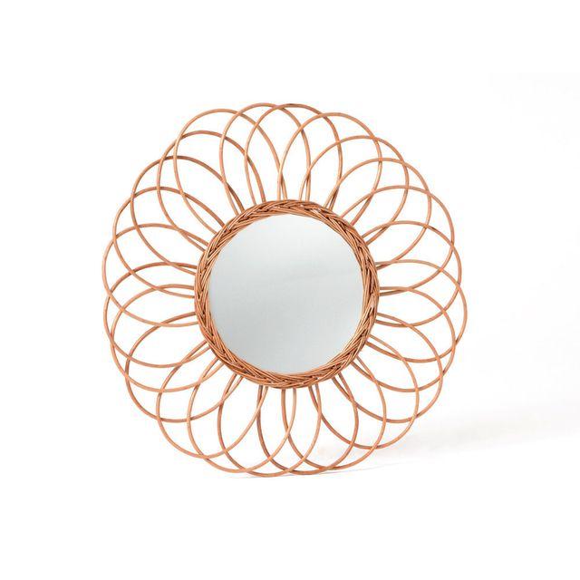 Amadeus Miroir soleil forme rosace en rotin naturel D.70cm Ailleurs