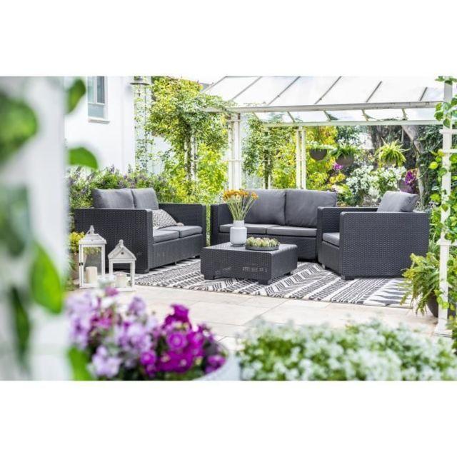 Salon De Jardin - Ensemble Table Chaise Fauteuil De Jardin Salon de jardin  en imitation résine tressée Allibert 5 personnes Salta Gris