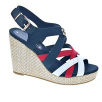 Tommy Hilfiger Iconic Elena Pop Color Wedge Femmes Sandales Bleu marine Rouge 38 EU