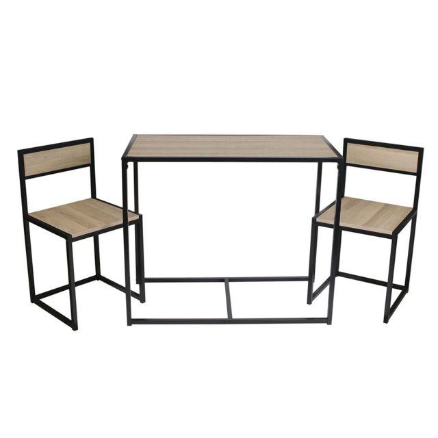 Altobuy Otalia - Ensemble Table et 2 Chaises Métal et Aspect Bois