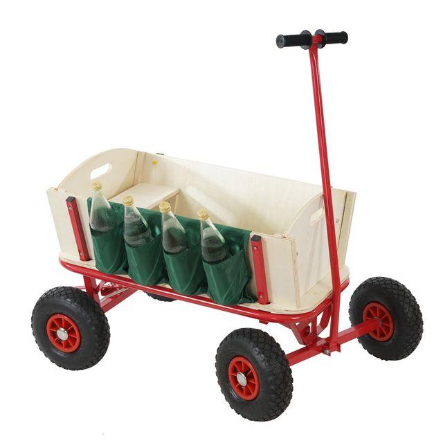 Mendler Voiturette charrette à bras chariot, bois, 92x61cm, avec frein, siège et porte-bouteille