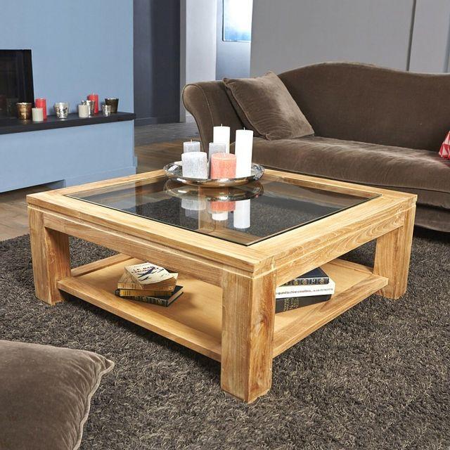 Bois Dessus Bois Dessous Table basse carrée en bois de teck vitrée 100