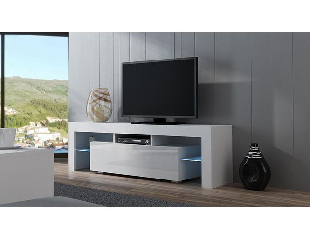 meuble tv blanc laqu 160. Black Bedroom Furniture Sets. Home Design Ideas