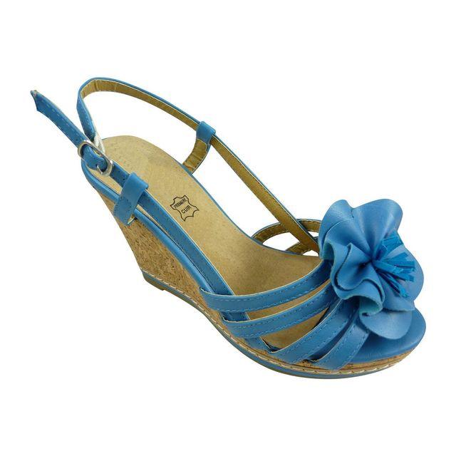 Chaussmaro - Sandales compensees a plateforme et grande fleur Bleu - pas  cher Achat   Vente Sandales et tongs femme - RueDuCommerce c638f0641e92