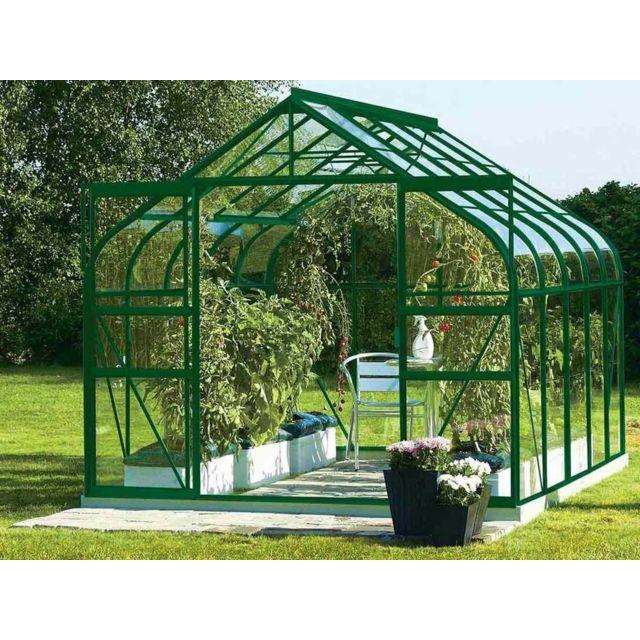Lams serre de jardin en verre diana 11 50 m base vert pas cher achat vente serres en - Serre de jardin carrefour ...