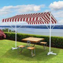OUTSUNNY - Store double pente manuel rétractable inclinaison réglable métal polyester imperméabilisé 2,95L x 2,95l x 2,6H m