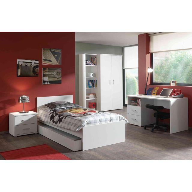 Comforium Ensemble 5 pièces pour chambre moderne avec lit 90x200 cm chevet, armoire 2 portes, bureau et bibliothèque coloris blanc
