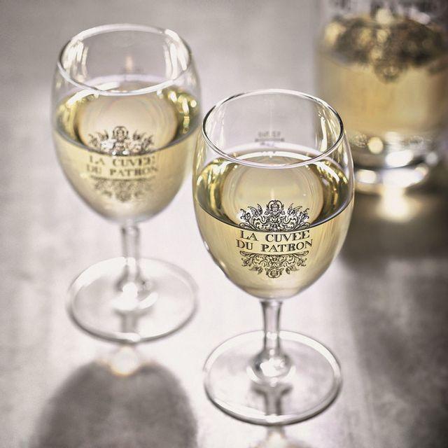 Durobor Verre à vin en verre La cuvée de patron 12.5 cl - Set de 6 Napoli DÉCOR - 24cl