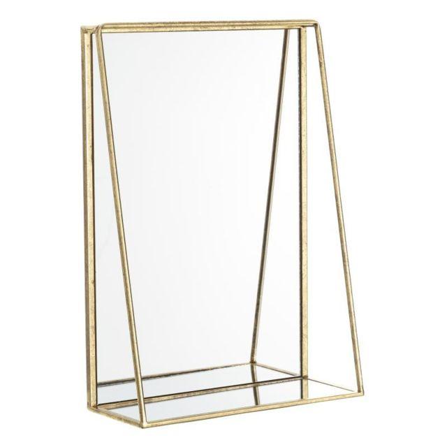 Tousmesmeubles Miroir rectangulaire Métal doré taille S - Kiwano