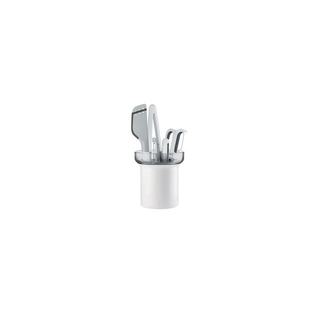 Guzzini Set De 5 Ustensiles My Kitchen Avec Support égouttoir - Gris