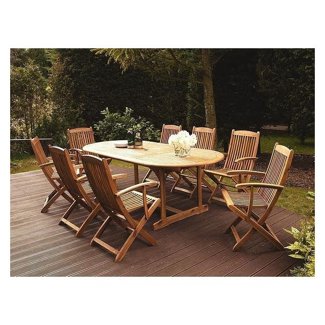 Beliani Table de jardin ovale extensible 160/220 x 100 cm en bois acacia Maui