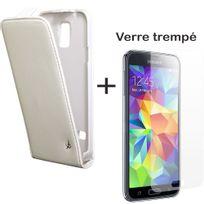 Dolce Vita - Pack Etui Slim à rabat vertical blanc et vitre en verre trempé inrayable pour Galaxy S5