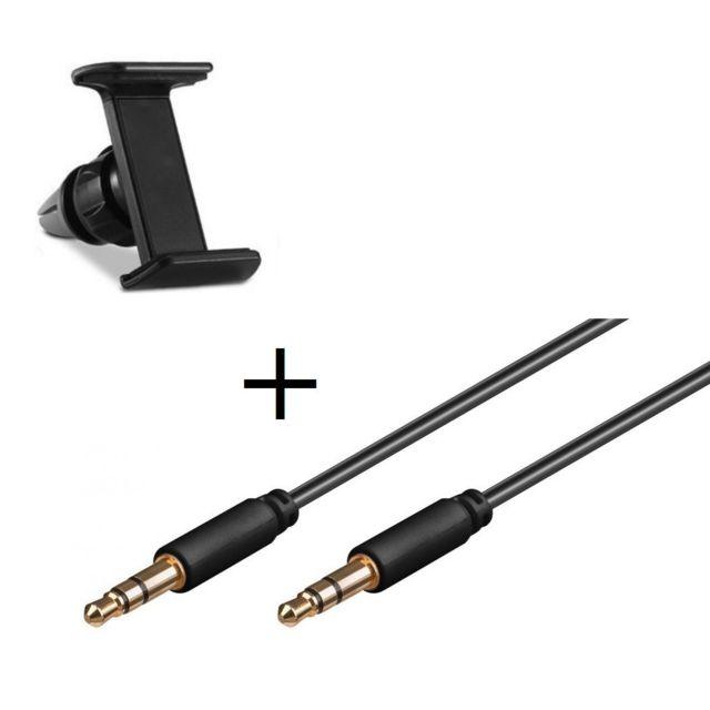 Pack Voiture pour Gionee Marathon M5 Plus Smartphone Support Voiture  Reglable + Cable Double Jack Musique, Universel