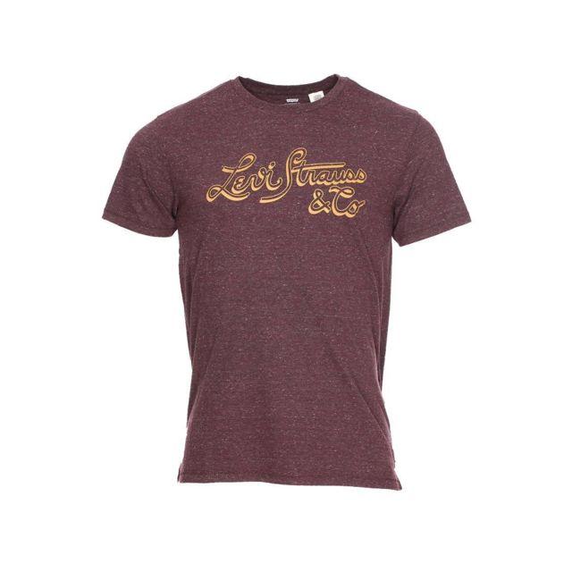 c637bf3926ca Levi S - Tee-shirt col rond Levi s en coton mélangé marron moucheté à  imprimé