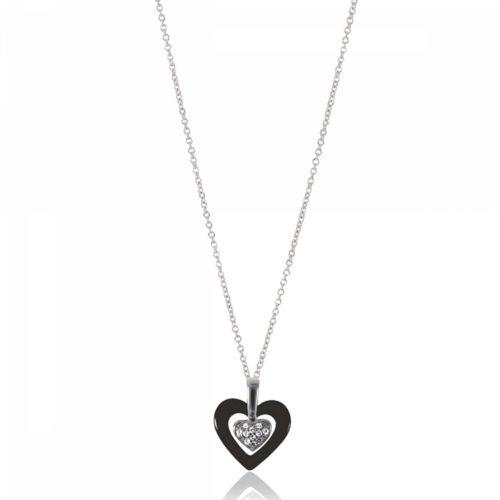 Bijoux En Vogue - Collier Coeur Argent   Céramique Amour   Strass Noir 3a90a7f0bc94